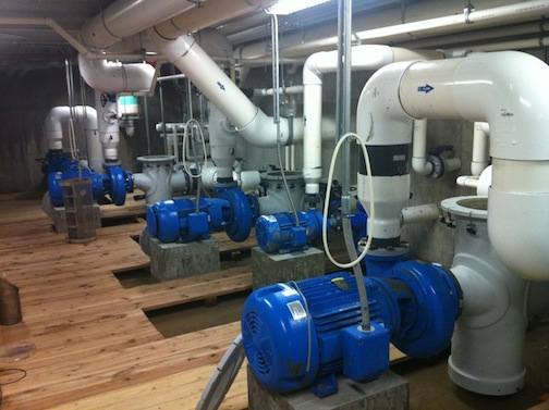 Pumps, pipes, and fittings at a water park.